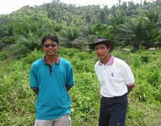 Asrif Bin Mahmud from Plantation Manager (left) and Dr. Mohd Azid Kabul of the Sabah Veterinary Sevices discussing buffalo grazing on Sabah Mas Plantation, Sabah